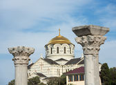 Early Christian basilica and Saint Vladimir Cathedral, Chersones — Stock Photo