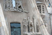 Front part of Sagrada Familia cathedral in Barcelona, Catalonia, — Stockfoto