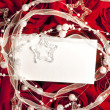 Roses and card holiday background - Stock Photo