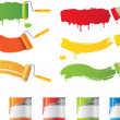 Vector roller and paint brushes with colors — Vettoriali Stock