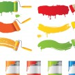 Vector roller and paint brushes with colors — 图库矢量图片