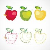Set of three stylized apple — Stock Vector