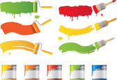 Vector roller and paint brushes with colors — Cтоковый вектор