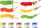 Vector roller en verf penselen met kleuren — Stockvector