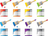 Set Bank with a colorful paint and brush — Stock Vector