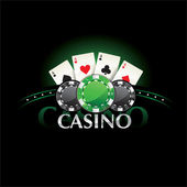 Casino element Poker cards and chips — Stok Vektör