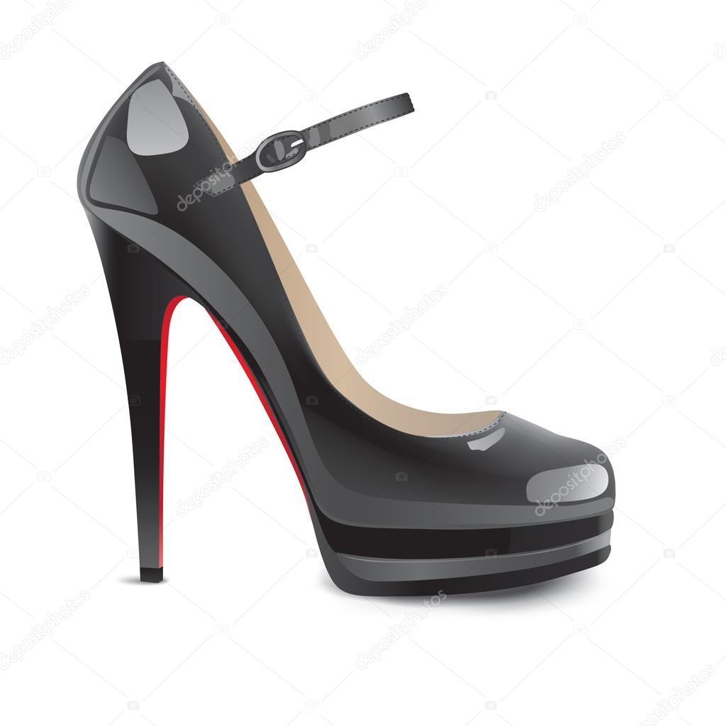 Black high heels shoes - Stock Illustration