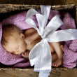 Little cute baby in the box with a gift bow — Stock Photo