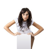 Woman holding blank banner — Stock Photo