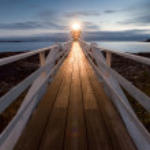 Marshall Point Lighthouse at dusk, Maine, USA — Stock Photo