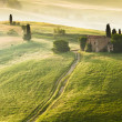 Early morning on countryside, Tuscany, Italy - Stock Photo
