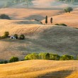 Sunrise in tuscan countryside near Pienza, Italy — Stock Photo