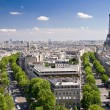 View on Paris from Arc de Triomphe, Paris, France - Stock Photo