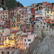 Manarola after sunset, Cinque Terre, Italy - Stock Photo