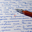 Open Notebook With Pen Red — Stockfoto