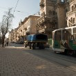 AvtoKrAZ tows broken tram in Lviv — Stock Photo
