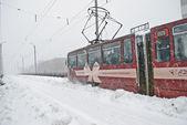 Tramvay rides Köprüsü'nde karla kaplı — Stok fotoğraf