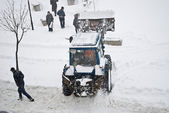 Agrimotor removes snow on the street Lviv Ukraine — Stock Photo