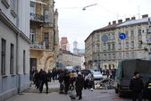 Cleaning near Lviv regional police — Stock fotografie