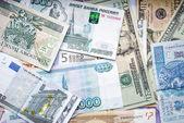 USD, EUR, PLN, UAH, RUB — Stock Photo