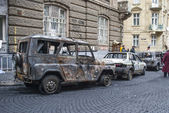 Wreck all-terrain vehicle, UAZ in city — ストック写真