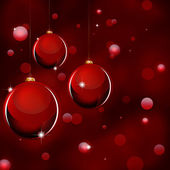 Three Christmas ball on a glossy red background — Vecteur