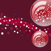 Cristmas balls with red ribbons and falling snow — Stock Vector