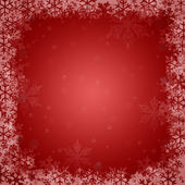 Red Christmas background with snowflakes — Vector de stock
