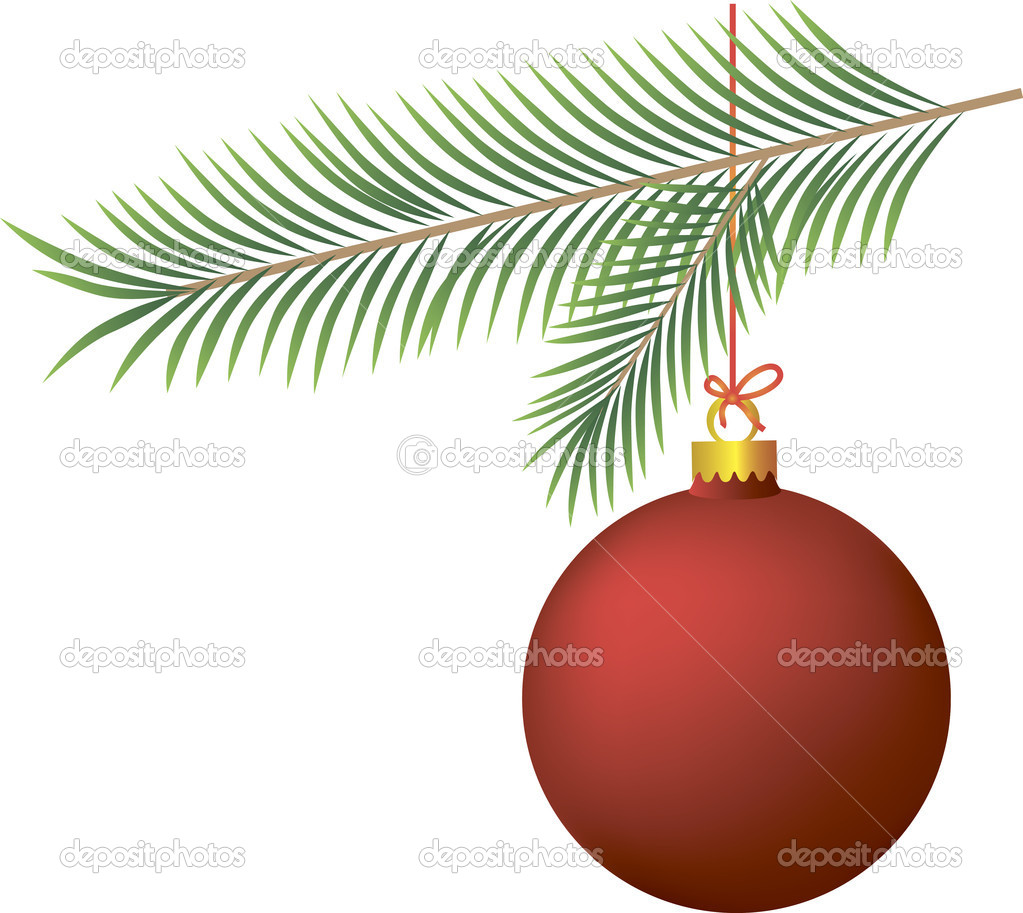 Red Christmas ball on Christmas tree branch — Stock Photo #17597491