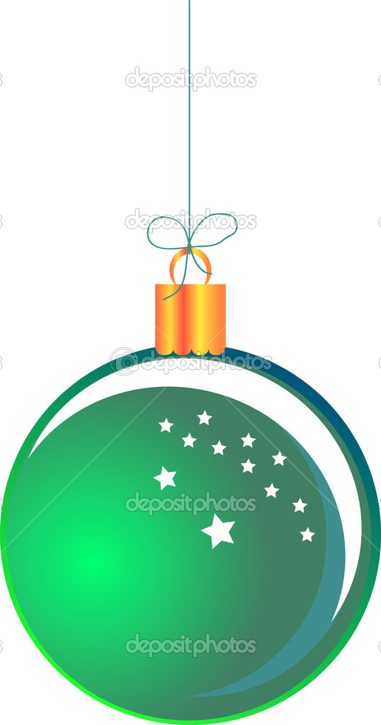 Green hanging Christmas ball  Stock Vector #17834093