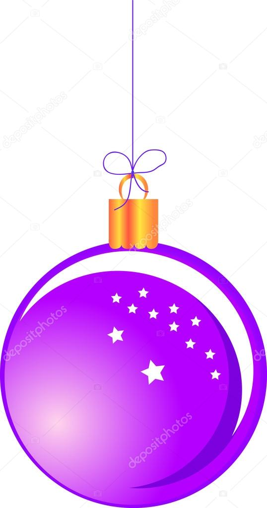 Purple hanging Christmas ball — Stock Vector #17834097