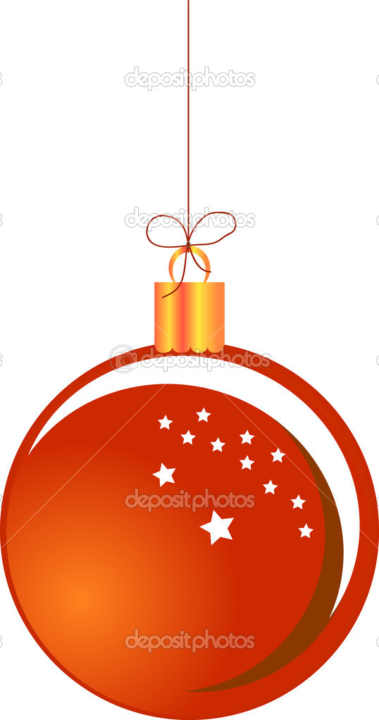 Red hanging Christmas ball — Stock Vector #17834099