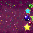 Christmas balls on the purple background — Stock Photo