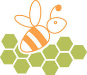 Bee and honeycomb — Vector de stock