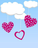 Three hearts hanging from the clouds — Stock Vector