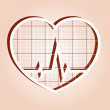 ECG in heart inside — Stock Vector