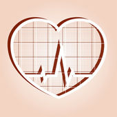 ECG in heart inside — Stock Vector