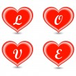 Stock Vector: The word Love in hearts