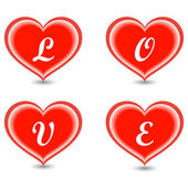 The word Love in hearts — Stock Vector