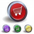 Button with a shopping cart — Stock Vector