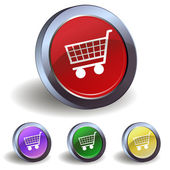 Button with a shopping cart — ストックベクタ