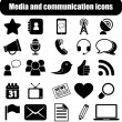 Media and communication icons - Imagens vectoriais em stock