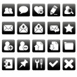White web icons on black squares — Stock Vector #24744527