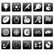 White sport icons on black squares — Stock Vector