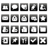 White web icons on black squares — Stock Vector