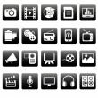 Royalty-Free Stock Vector Image: White media icons on black squares