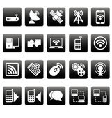 White wireless icons on black squares — Stock Vector
