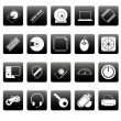 Computer icons on black squares — Stock Vector #24910415