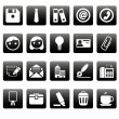 Royalty-Free Stock Vector Image: Office icons on black squares