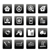 Real estate icons on black squares — Stock Vector